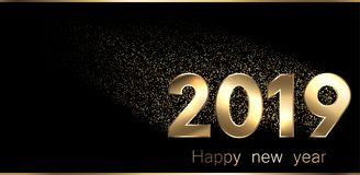 A bandeira 2019 preta do ano novo feliz com ouro figura Ilustração Royalty Free