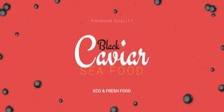 Bandeira preta do caviar Fundo delicioso do marisco Ilustração do vetor do caviar Alimento luxuoso natural e saudável Projeto ilustração do vetor