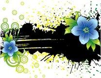 Bandeira preta do grunge com flores Imagem de Stock Royalty Free
