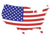 A bandeira projetou o mapa de Estados Unidos Imagem de Stock
