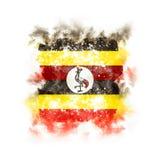 Bandeira quadrada do grunge de uganda Foto de Stock Royalty Free