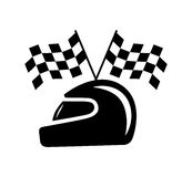 Bandeira quadriculado e capacete Imagens de Stock Royalty Free