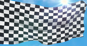 Bandeira quadriculado, fundo da raça da extremidade, competição do Fórmula 1 que acena no céu azul ilustração do vetor