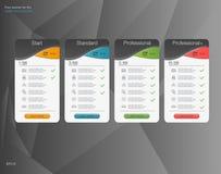 Bandeira quatro as tarifas e as tabelas de preços Elementos do Web Acolhimento do plano Projeto do vetor para a Web app Bandeira  ilustração stock