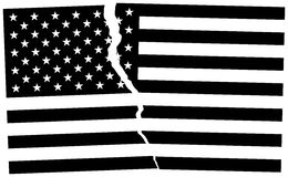 Bandeira quebrada preto e branco do Estados Unidos da América ilustração royalty free
