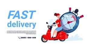Bandeira rápida do molde da bicicleta de Woman Riding Motor do correio do ícone do serviço de entrega com espaço da cópia Imagem de Stock
