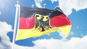 A bandeira realística de Alemanha que acena contra o tempo-lapso nubla-se o fundo Laço sem emenda na definição 4K com detalhado ilustração stock
