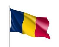 Bandeira realística de Chade Fotos de Stock