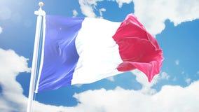 A bandeira realística de França que acena contra o tempo-lapso nubla-se o fundo Laço sem emenda na definição 4K com detalhado ilustração royalty free