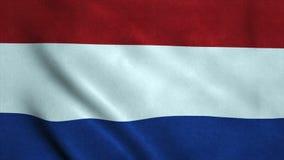 Bandeira realística de Ultra-HD do Netherland que acena no vento Laço sem emenda com textura altamente detalhada da tela ilustração stock