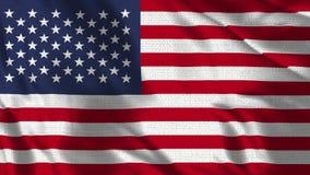 Bandeira realística dos fps 4K 30 dos EUA que acenam no vento
