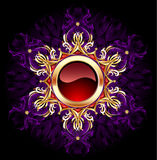 Bandeira redonda da jóia no fundo roxo ilustração royalty free