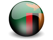 Bandeira redonda da Zâmbia Imagem de Stock Royalty Free