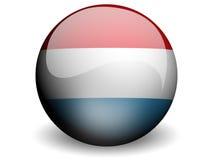 Bandeira redonda de Luxembourg Imagens de Stock Royalty Free
