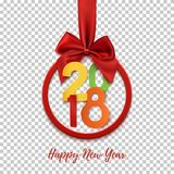 Bandeira redonda do ano novo feliz 2018 com fita e curva vermelhas Imagem de Stock Royalty Free