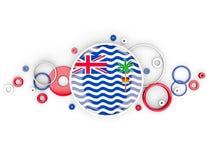 A bandeira redonda do território de Oceano Índico britânico com círculos tamborila ilustração do vetor