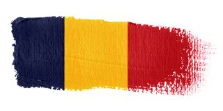 Bandeira República do Tchad do Brushstroke Fotos de Stock