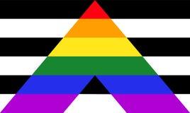 Bandeira reta do orgulho do aliado - mistura de LGBT e de sinais heterossexuais das comunidades ilustração royalty free