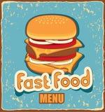 Bandeira retro com cheeseburger ilustração do vetor