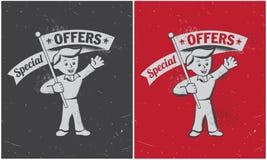 Bandeira retro da oferta especial do vintage Imagem de Stock Royalty Free