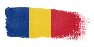 Bandeira Romania do Brushstroke Foto de Stock