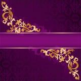 Bandeira roxa com ornamento do ouro Imagens de Stock Royalty Free