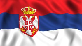 Bandeira sérvio que acena no símbolo do vento de serbia ilustração royalty free