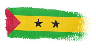 Bandeira Sao Tome And Principe do Brushstroke Imagem de Stock
