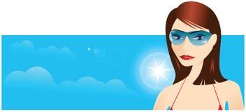 Bandeira 'sexy' da menina da praia Imagens de Stock