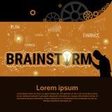Bandeira Startup do desenvolvimento do conceito da estratégia de Brainstorm Business Plan do homem de negócios ilustração royalty free