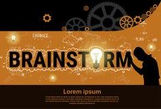 Bandeira Startup do desenvolvimento do conceito da estratégia de Brainstorm Business Plan do homem de negócios ilustração stock