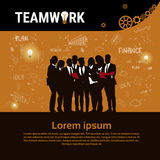 Bandeira Startup do desenvolvimento do conceito da estratégia de Team Brainstorm Teamwork Business Plan do grupo dos empresários ilustração stock