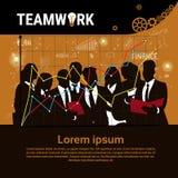 Bandeira Startup do desenvolvimento do conceito da estratégia de Team Brainstorm Teamwork Business Plan do grupo dos empresários ilustração royalty free