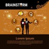 Bandeira Startup do desenvolvimento do conceito de Team Brainstorm Business Plan Strategy do grupo dos empresários ilustração do vetor