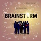 Bandeira Startup do desenvolvimento do conceito de Team Brainstorm Business Plan Strategy do grupo dos empresários ilustração stock