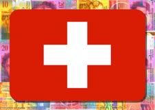 Bandeira suíça com francos suíços Fotos de Stock Royalty Free