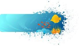 Bandeira subaquática de Grunge Fotos de Stock Royalty Free