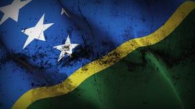 Bandeira suja do grunge de Salomon Islands que acena no vento ilustração stock