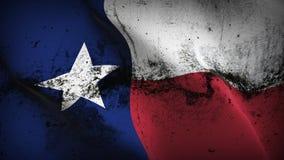 Bandeira suja do grunge do estado de Texas E.U. que acena no vento ilustração stock