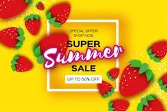 A bandeira super da venda do verão da morango vermelha no papel cortou o estilo Alimento saudável do origâmi no amarelo Quadro qu ilustração do vetor
