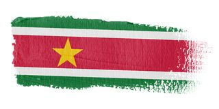 Bandeira Suriname do Brushstroke Imagens de Stock