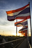 Bandeira tailandesa de Tailândia no tom da silhueta Fotografia de Stock