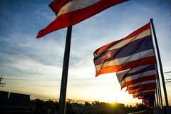 Bandeira tailandesa de Tailândia no tom da silhueta Imagens de Stock Royalty Free