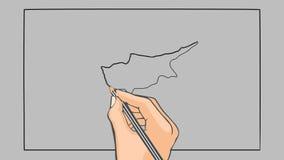 Bandeira tirada mão da animação de Chipre ilustração do vetor