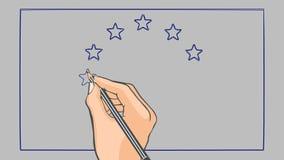 Bandeira tirada mão da animação de Europa ilustração do vetor