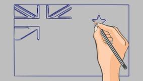 Bandeira tirada mão da animação de Nova Zelândia ilustração royalty free