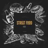 Bandeira tirada mão do fast food Padaria do alimento da rua Hamburguer, cachorro quente, batatas fritas, pizza, café, soda, bagel Foto de Stock Royalty Free