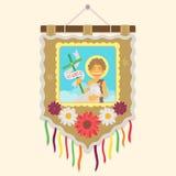 Bandeira tradicional brasileira com uma imagem de St John Fotografia de Stock Royalty Free
