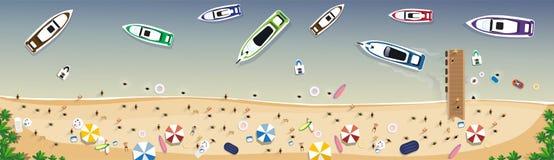 Bandeira tropical do feriado da areia ajustada das férias da praia do verão ilustração do vetor
