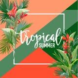 Bandeira tropical do verão das flores e das palmas, fundo gráfico, convite floral exótico, inseto ou cartão Primeira página moder ilustração stock